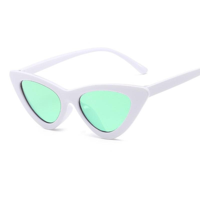 Retro Cat Eye Pointy Sunglasses Sunglasses Loom Rack White Frame/Green Lens