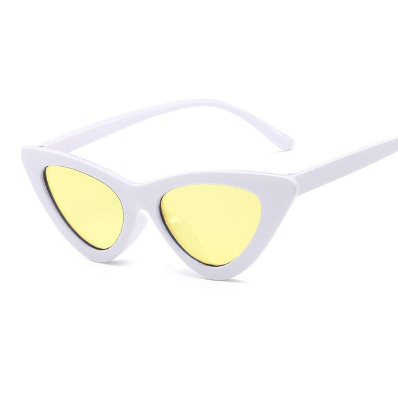 Retro Cat Eye Pointy Sunglasses Sunglasses Loom Rack White Frame/Yellow Lens