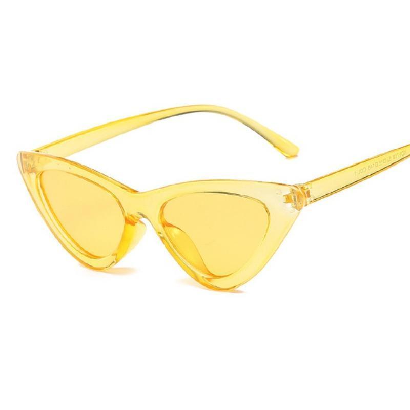 Retro Cat Eye Pointy Sunglasses Sunglasses Loom Rack Yellow Frame/Yellow Lens