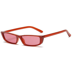 Retro Micro Lens Rectangle Sunglasses Sunglasses Loom Rack red frame red
