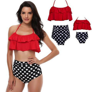 Retro Mommy and Me Matching Swimsuits - Assorted Styles Swimsuits 2019 Loom Rack Red Mom S