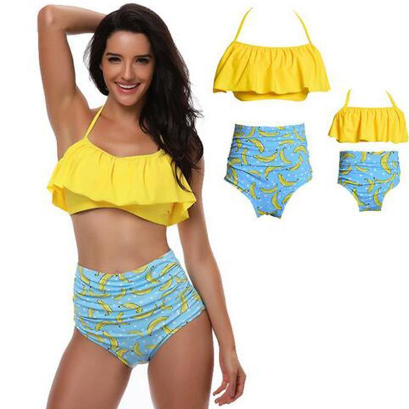 Retro Mommy and Me Matching Swimsuits - Assorted Styles Swimsuits 2019 Loom Rack Yellow Mom S