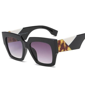 Retro Oversized Bold Frame Sunglasses Sunglasses Loom Rack Black v1