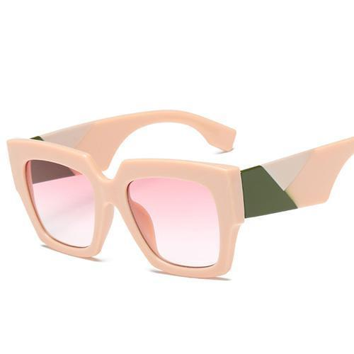 Retro Oversized Bold Frame Sunglasses Sunglasses Loom Rack Pink