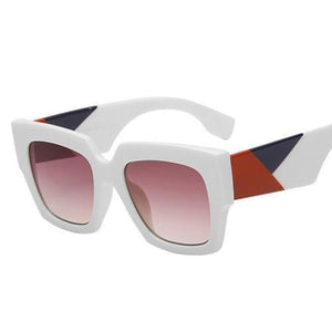 Retro Oversized Bold Frame Sunglasses Sunglasses Loom Rack White