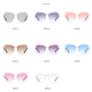 Retro Rimless Dimensional Sunglasses Sunglasses Loom Rack