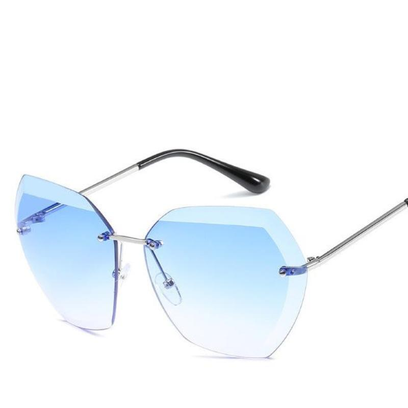 Retro Rimless Dimensional Sunglasses Sunglasses Loom Rack Blue
