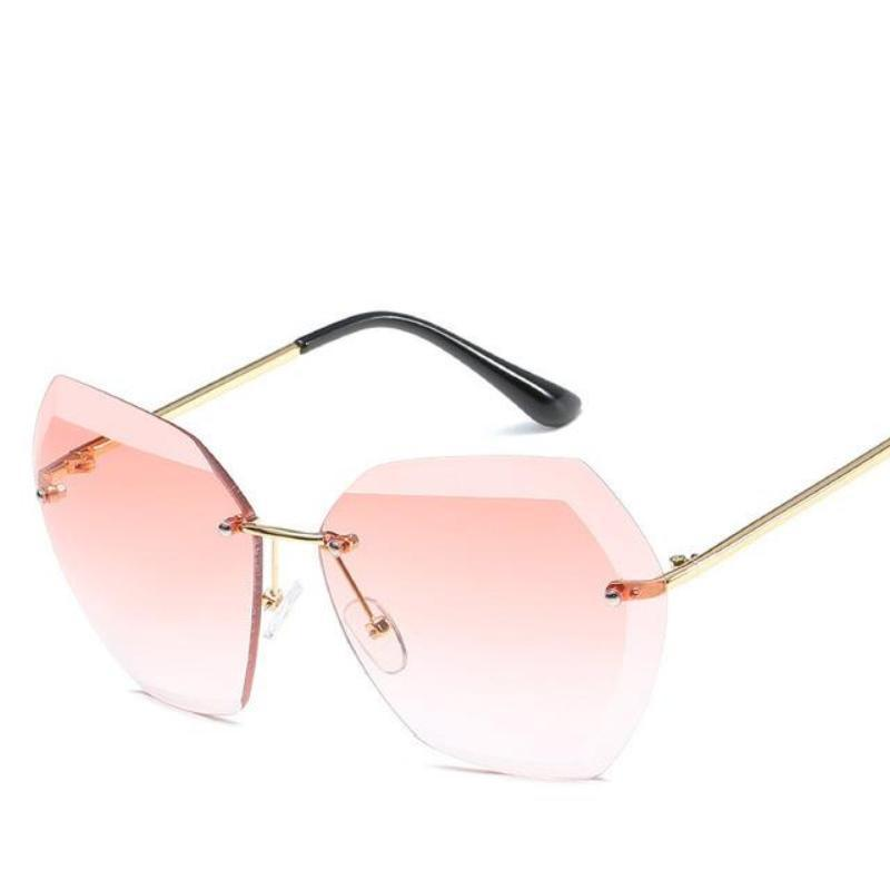 Retro Rimless Dimensional Sunglasses Sunglasses Loom Rack Pink