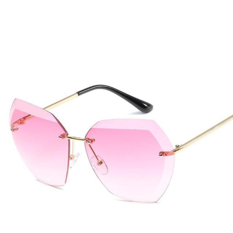Retro Rimless Dimensional Sunglasses Sunglasses Loom Rack Red