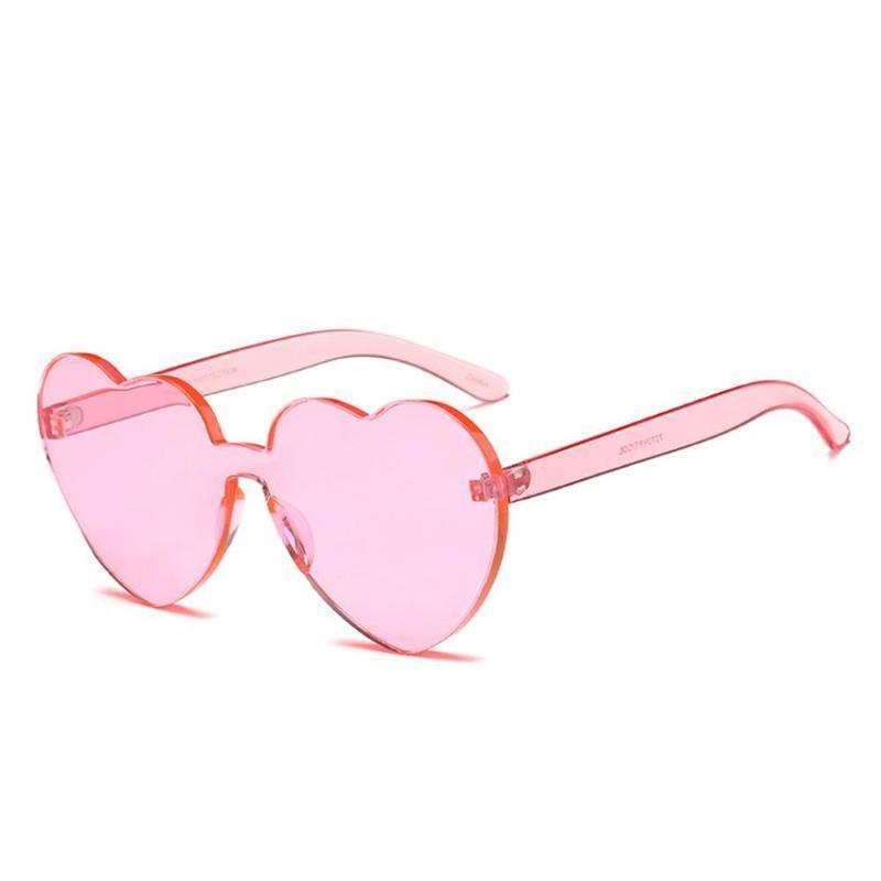Rimless Heart Shaped Sunglasses Sunglasses Loom Rack Pink