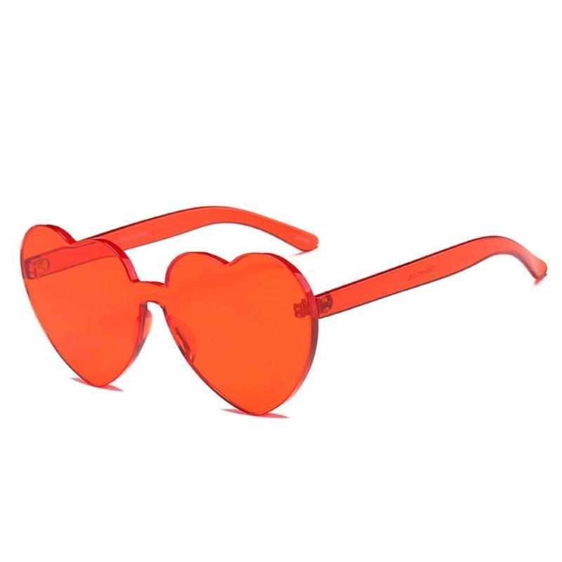 Rimless Heart Shaped Sunglasses Sunglasses Loom Rack Red