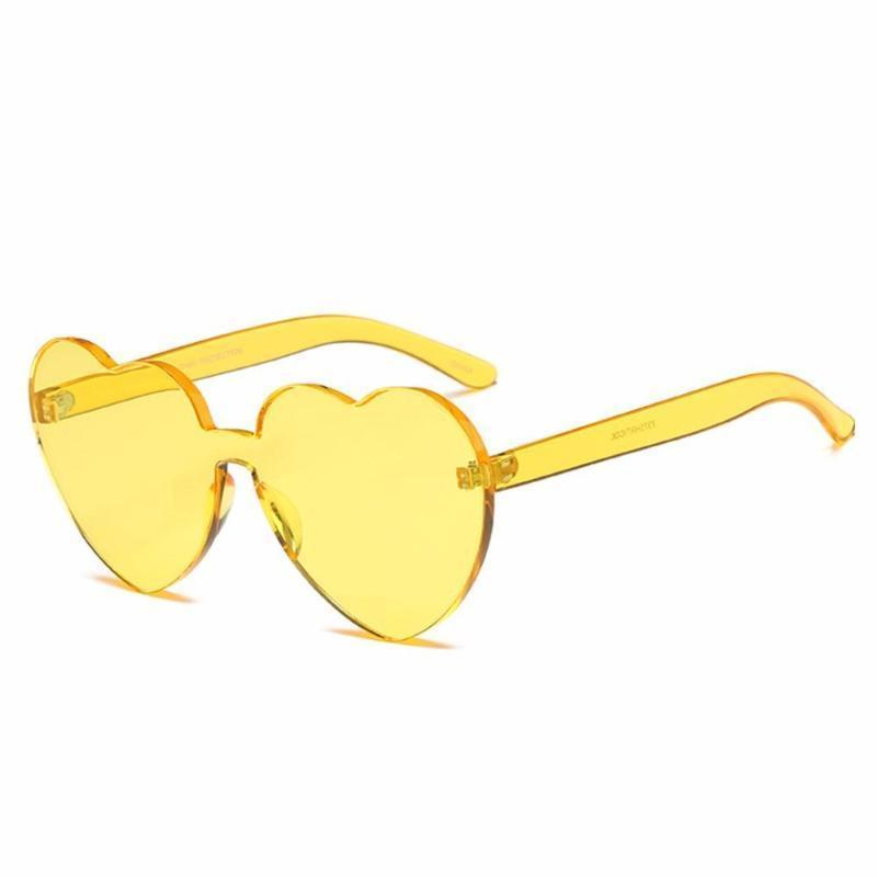 Rimless Heart Shaped Sunglasses Sunglasses Loom Rack Yellow