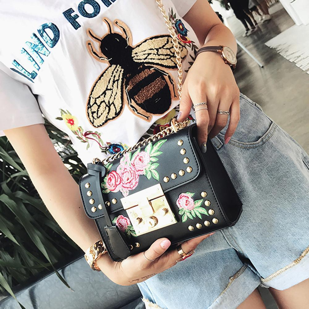 Rose Embroidered Leather Crossbody Bag Shoulder Bags Loom Rack