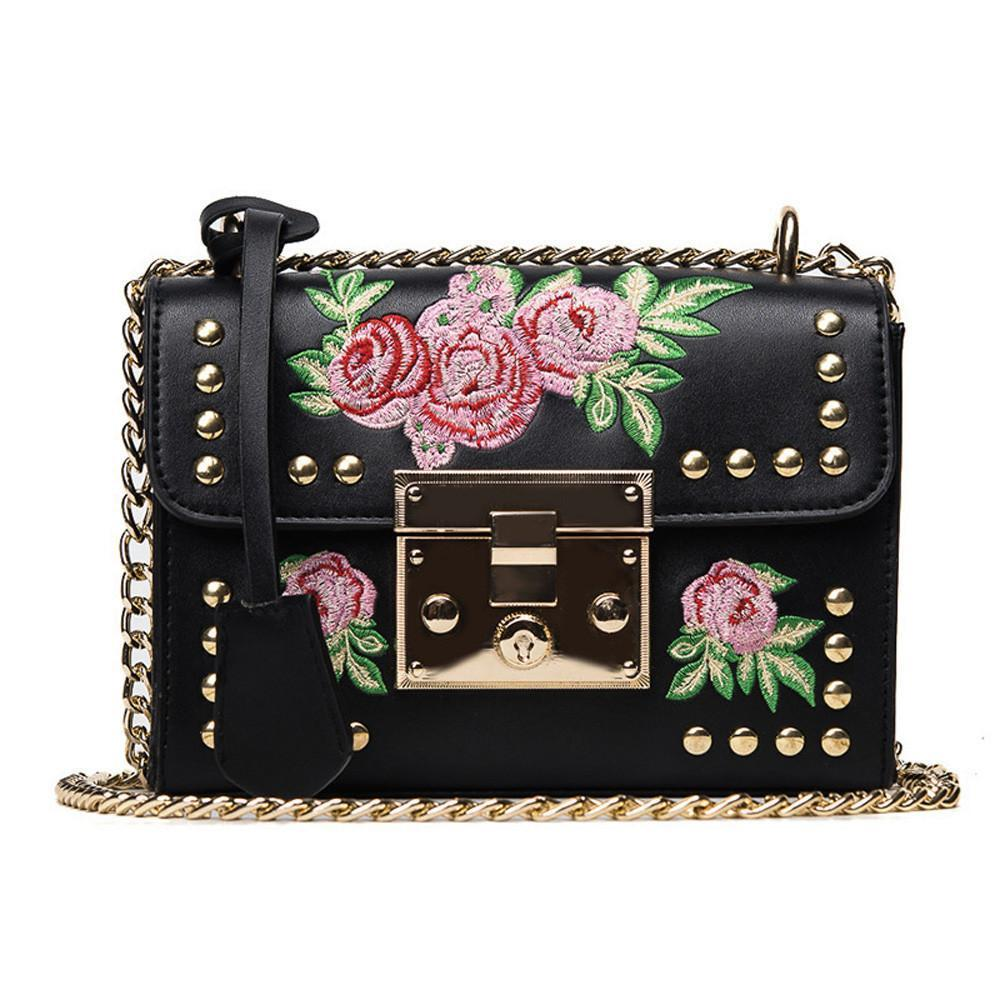 Rose Embroidered Leather Crossbody Bag Shoulder Bags Loom Rack Black