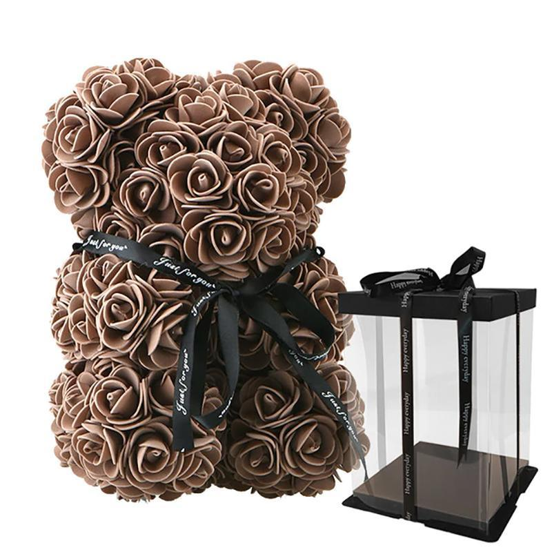 Rose Teddy Bear Home Accessories Brown with Box