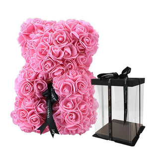Rose Teddy Bear Home Accessories Loom Rack Pink with Box (10 inc/25 cm)