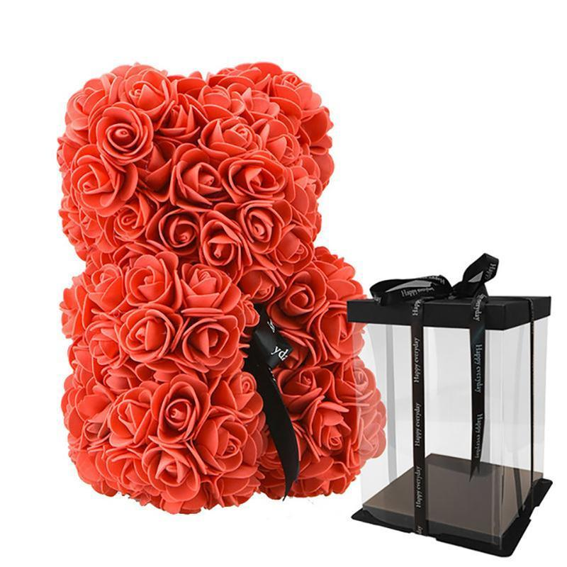 Rose Teddy Bear Home Accessories Loom Rack Red with Box (10 inc/25 cm)