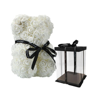 Rose Teddy Bear Home Accessories Loom Rack White with Box (10 inc/25 cm)