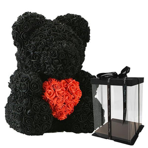 Rose Teddy Bear with Heart Home Accessories Loom Rack Black-Red with Box (16 inc/40 cm)