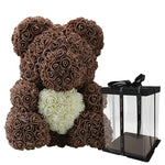 Rose Teddy Bear with Heart Home Accessories Loom Rack Brown-White with Box (16 inc/40 cm)