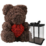 Rose Teddy Bear with Heart Home Accessories Loom Rack Brwon-Red with Box (16 inc/40 cm)