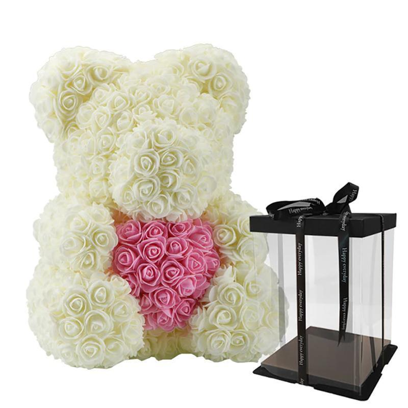 Rose Teddy Bear with Heart Home Accessories Loom Rack Cream-Pink with Box (16 inc/40 cm)