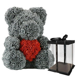 Rose Teddy Bear with Heart Home Accessories Loom Rack Grey-Red with Box (16 inc/40 cm)