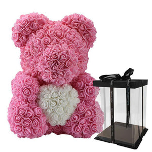 Rose Teddy Bear with Heart Home Accessories Loom Rack Pink-White with Box (16 inc/40 cm)