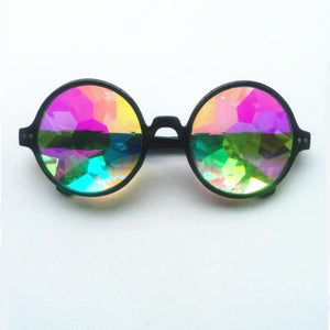 Round Kaleidoscope Sunglasses Sunglasses Loom Rack Black