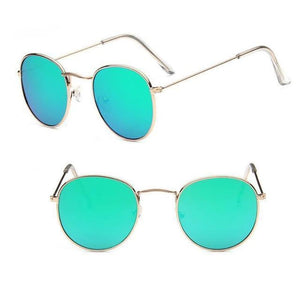 Round Mirror Sunglasses Sunglasses gold green