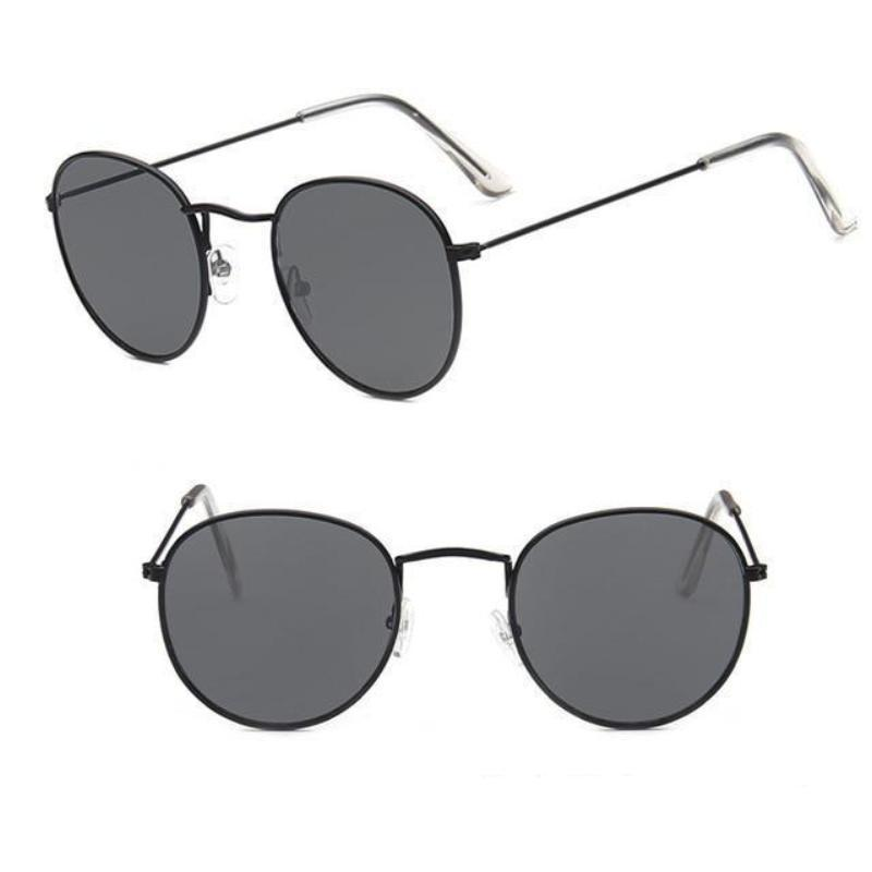 Round Mirror Sunglasses Sunglasses Loom Rack Black Grey