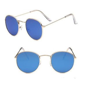 Round Mirror Sunglasses Sunglasses Loom Rack Gold Blue