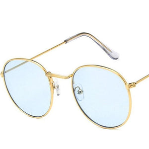 Round Mirror Sunglasses Sunglasses Loom Rack Gold Blue v1