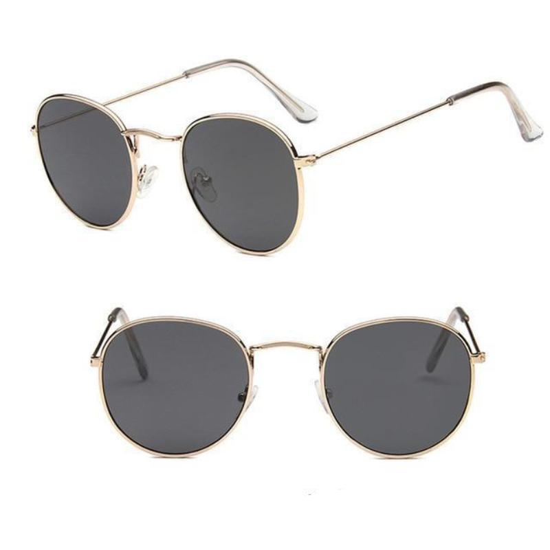 Round Mirror Sunglasses Sunglasses Loom Rack Gold Grey