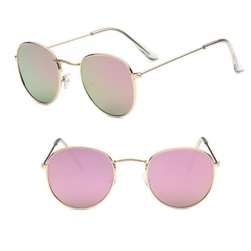 Round Mirror Sunglasses Sunglasses Loom Rack Gold Pink