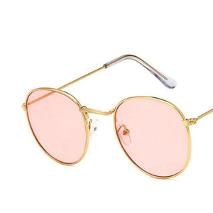 Round Mirror Sunglasses Sunglasses Loom Rack Gold Pink v1