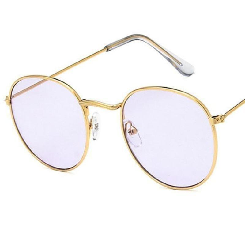 Round Mirror Sunglasses Sunglasses Loom Rack Gold Purple v1
