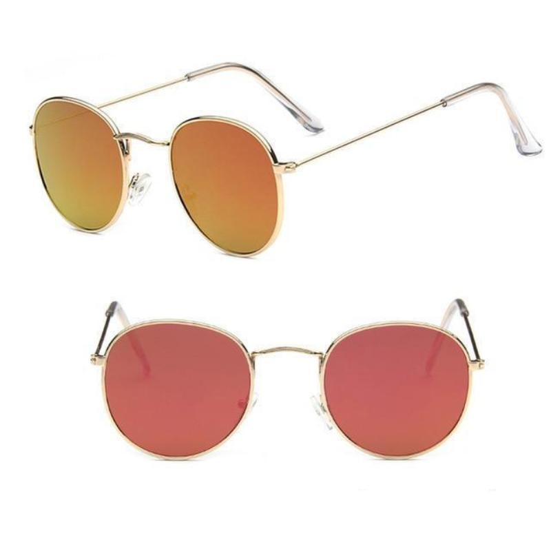Round Mirror Sunglasses Sunglasses Loom Rack Gold Red