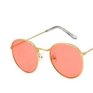 Round Mirror Sunglasses Sunglasses Loom Rack Gold Red v1