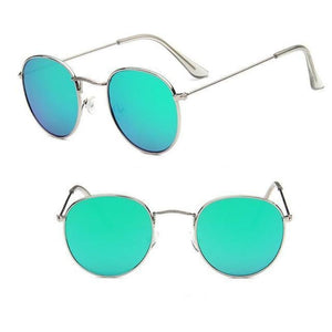 Round Mirror Sunglasses Sunglasses Loom Rack Silver Green