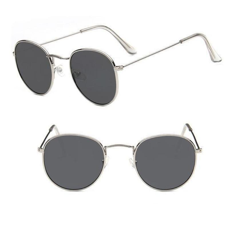Round Mirror Sunglasses Sunglasses Loom Rack Silver Grey