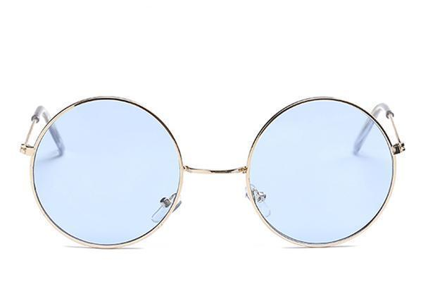 Round Small Frame Sunglasses Sunglasses Loom Rack Gold Blue