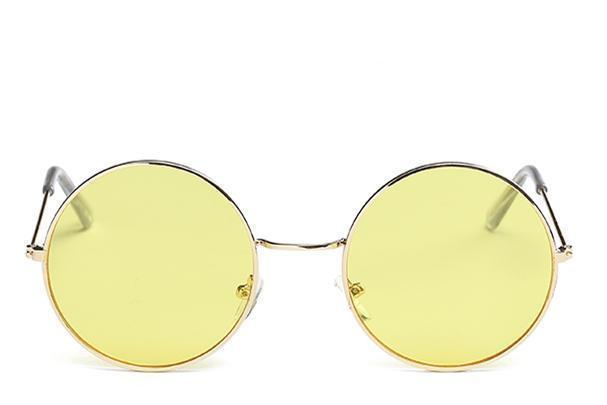 Round Small Frame Sunglasses Sunglasses Loom Rack Gold Yellow