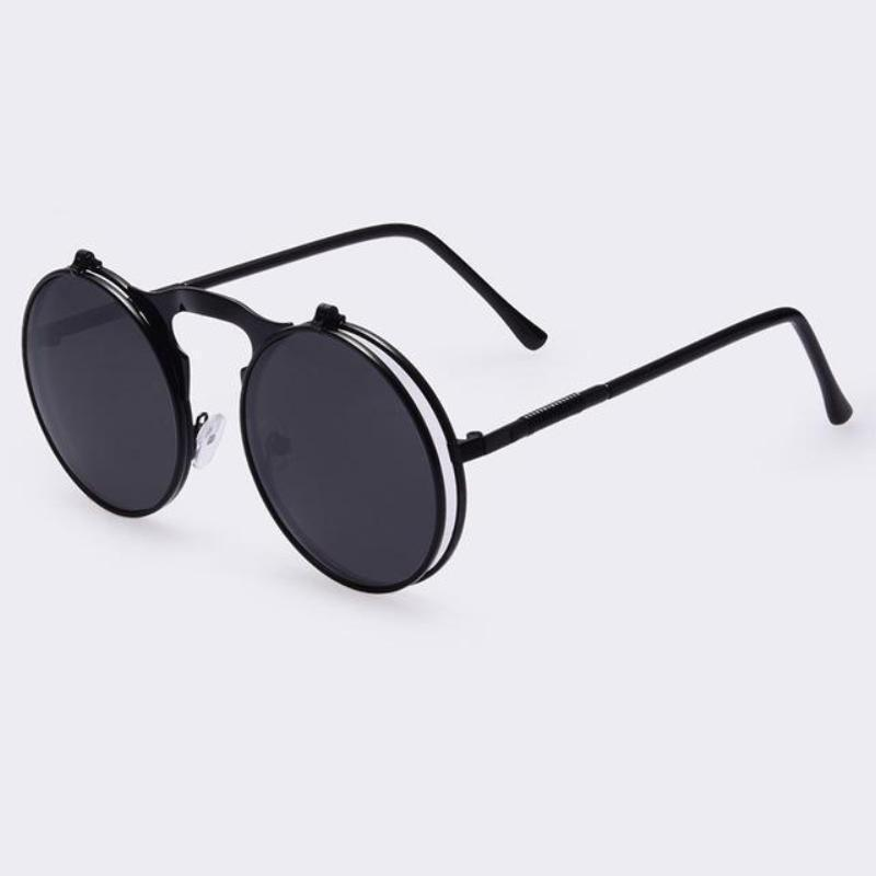 Round Steampunk Sunglasses Sunglasses Loom Rack Full Black