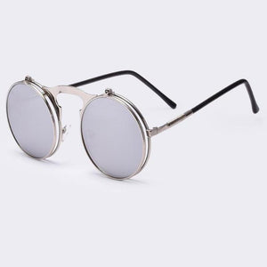 Round Steampunk Sunglasses Sunglasses Loom Rack Silver