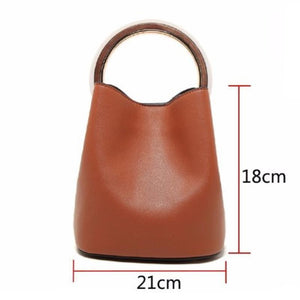 Round Wooden Handle Bucket Bag Shoulder Bags Loom Rack