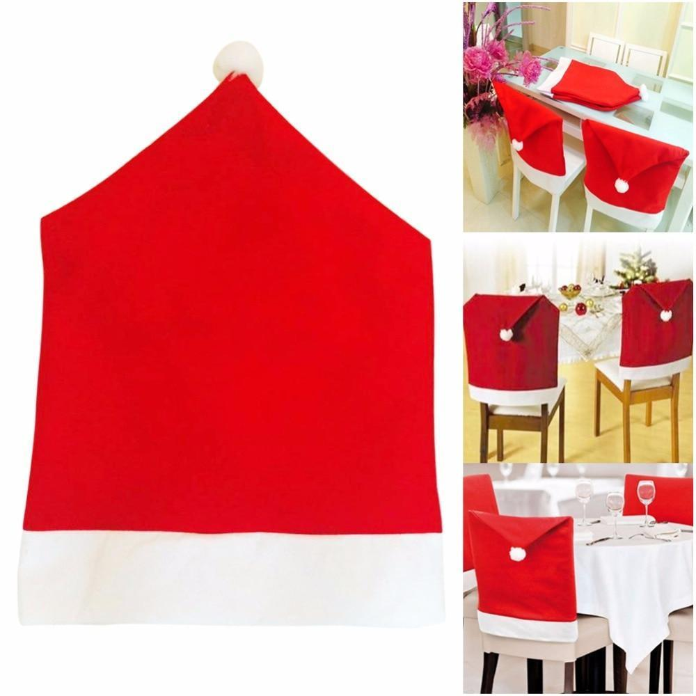 Santa Claus Red Hat Chair Back Covers - 2 to 6 Piece Sets Christmas Accessories Loom Rack