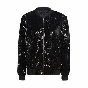 Sequin Bomber Jacket - Woman's Jackets Loom Rack Black S