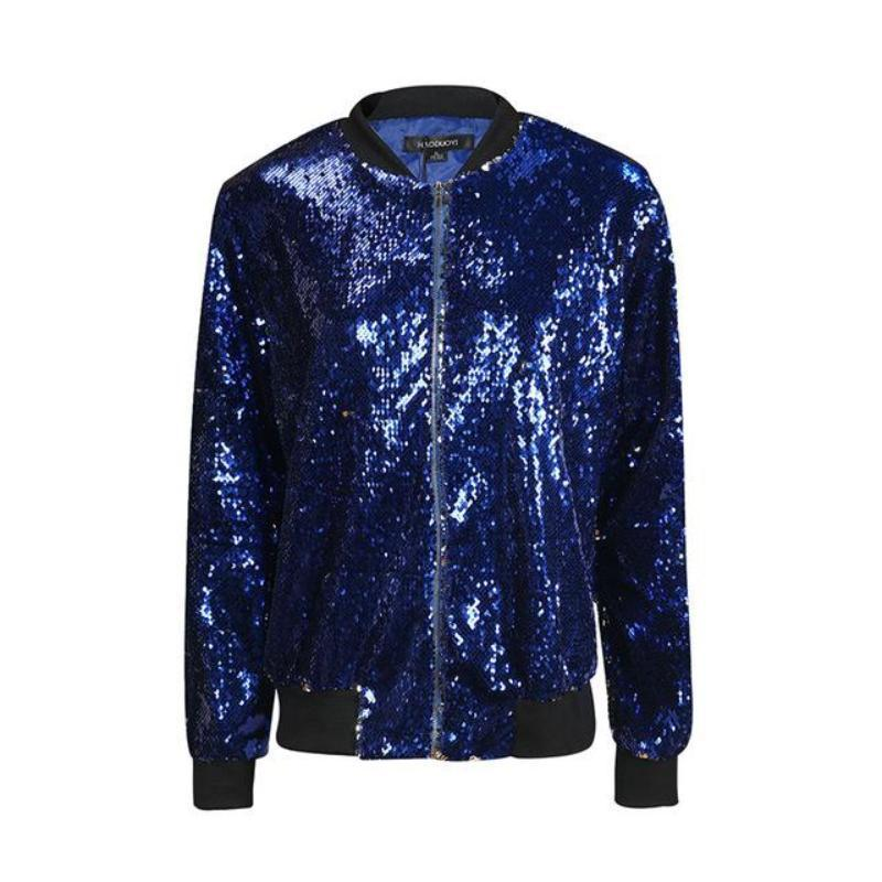 Sequin Bomber Jacket - Woman's Jackets Loom Rack Blue S