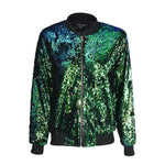 Sequin Bomber Jacket - Woman's Jackets Loom Rack Green S